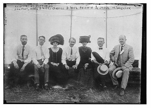 Photo: Aviators,Pittsburgh,Augustus Post,Mars,wife,spouse,Curiss,Baldwin,Judge - Pittsburgh Aviators