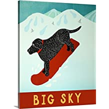 Stephen Huneck Premium Thick-Wrap Canvas Wall Art Print entitled Big Sky Snowboard Black