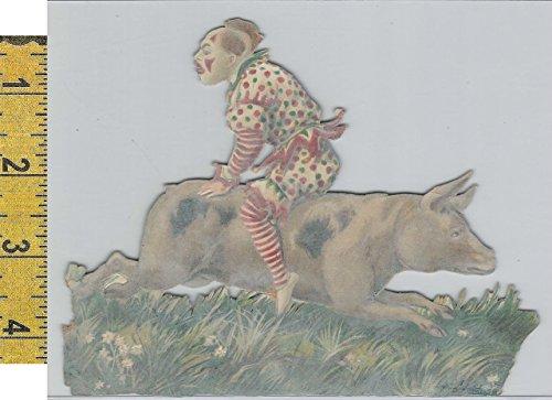 Victorian Card, 1890's, Circus & Fairs, Clown, Pig (A8)