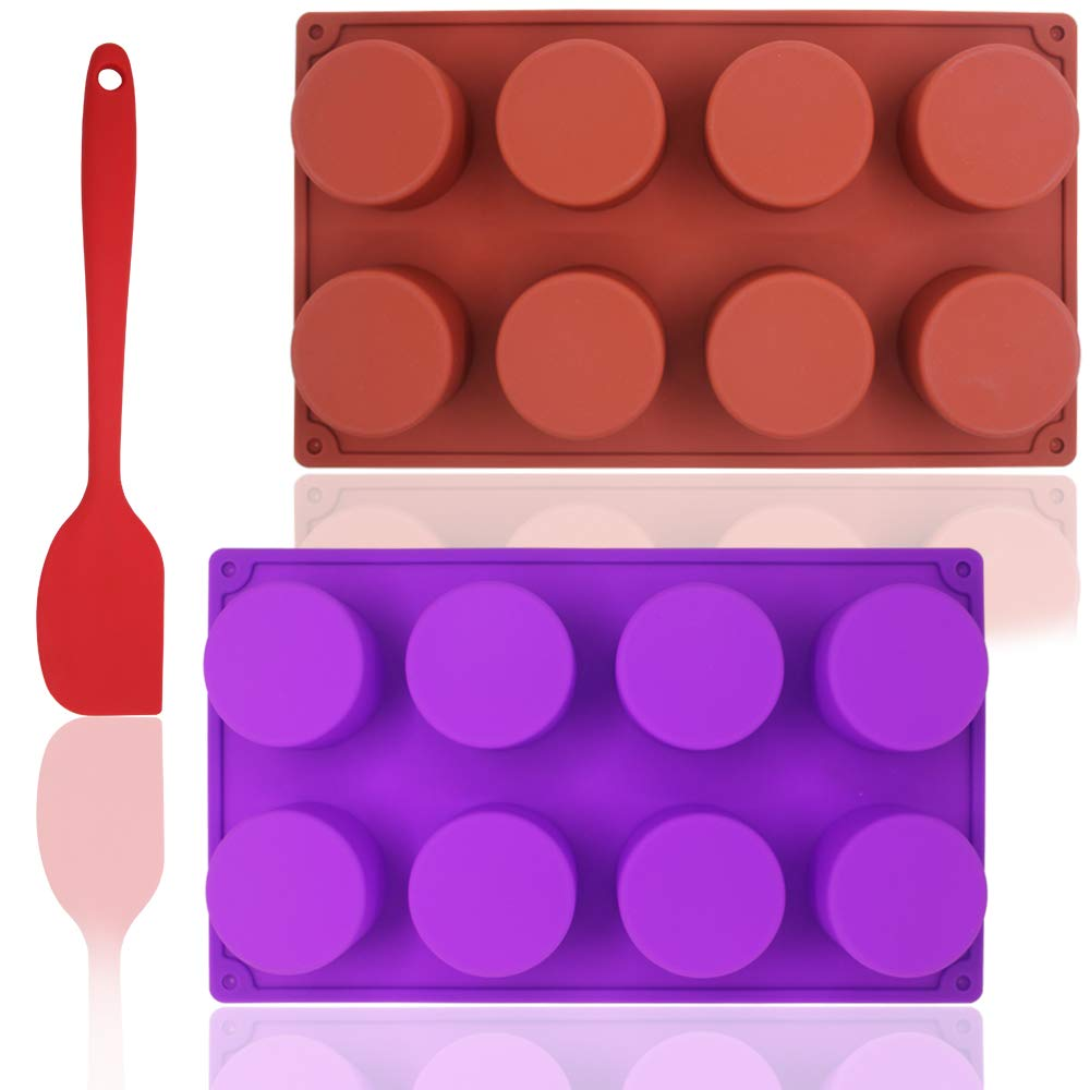 8-Cavity Round Silicone Mold with Silicone Spatula, DuKuan 2 Packs Non-Stick Cylinder Mold for Handmade Soap, Cupcake, Muffin, Ice Cube – Brown and Purple DaKuan