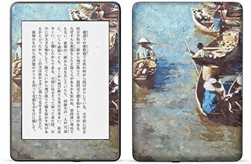 igsticker kindle paperwhite 第4世代 専用スキンシール キンドル ペーパーホワイト タブレット 電子書籍 裏表2枚セット カバー 保護 フィルム ステッカー 015748 水彩 絵 船
