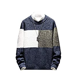 Men's Over Sized Long Sleeve Color Block Knitted Pullover Sweater