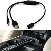 Car AUX Adapter Lightning Y Cable USB Charging Cord 3.5MM AUX Connector Fit BMW for iPhone X 8 7/7 Plus/iPhone/5C/5S/6/6S Compatible latest iOS version 11.3 plus