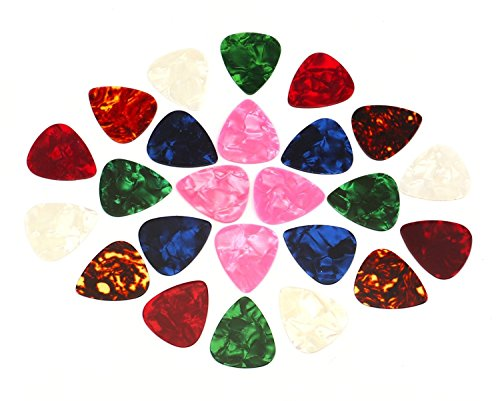 Foraineam 24 Pieces Thin, Medium & Heavy Gauges Celluloid Guitar Picks Assorted Colors Random Colors by Foraineam