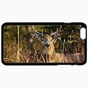 Customized Cellphone Case Back Cover For iPhone 6 Plus, Protective Hardshell Case Personalized Deer Black