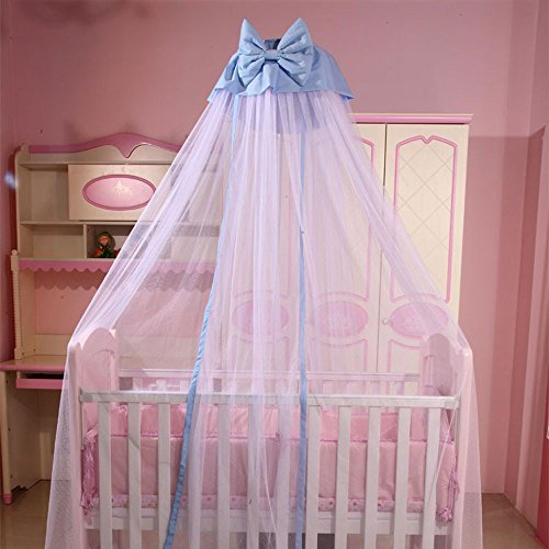 RuiHome Dome Style Hanging Baby Mosquito Net Nursery Bed Canopy with Blue Bowknot Decor, Netting with Holder Stand