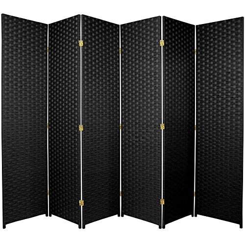 Oriental Furniture 6 ft. Tall Woven Fiber Room Divider - 6 Panel - Black by ORIENTAL FURNITURE