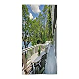 31.49'' W x 62.99''L Cotton Microfiber Bath/Hand Towel,Modern Decor,Home Patio Balcony with Peaceful Woods in Clear Sunny Sky Photo,White Green and Sky Blue,Ultra Soft,For Hotel Spa Beach Pool Bath