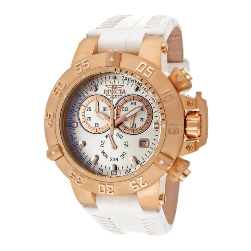 Invicta Women's 11617 Subaqua Chronograph Silver Dial White Leather Watch