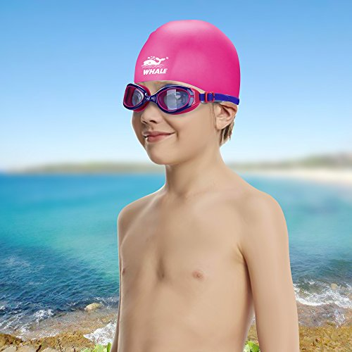 Whale Kids Swim Goggle and Cap Set Anti Fog UV Protection Swimming Goggles Swimmer Caps with Ear Plugs Nose Clip Toys Games Triathlon Equipment for Youth Teens Children Boys Girls Trainning Gear ()