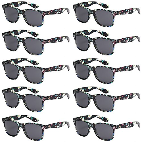 WHOLESALE UNISEX 80'S RETRO STYLE BULK LOT PROMOTIONAL SUNGLASSES - 10 PACK (Transparent Floral / Smoke, - Rainbow Sunglasses