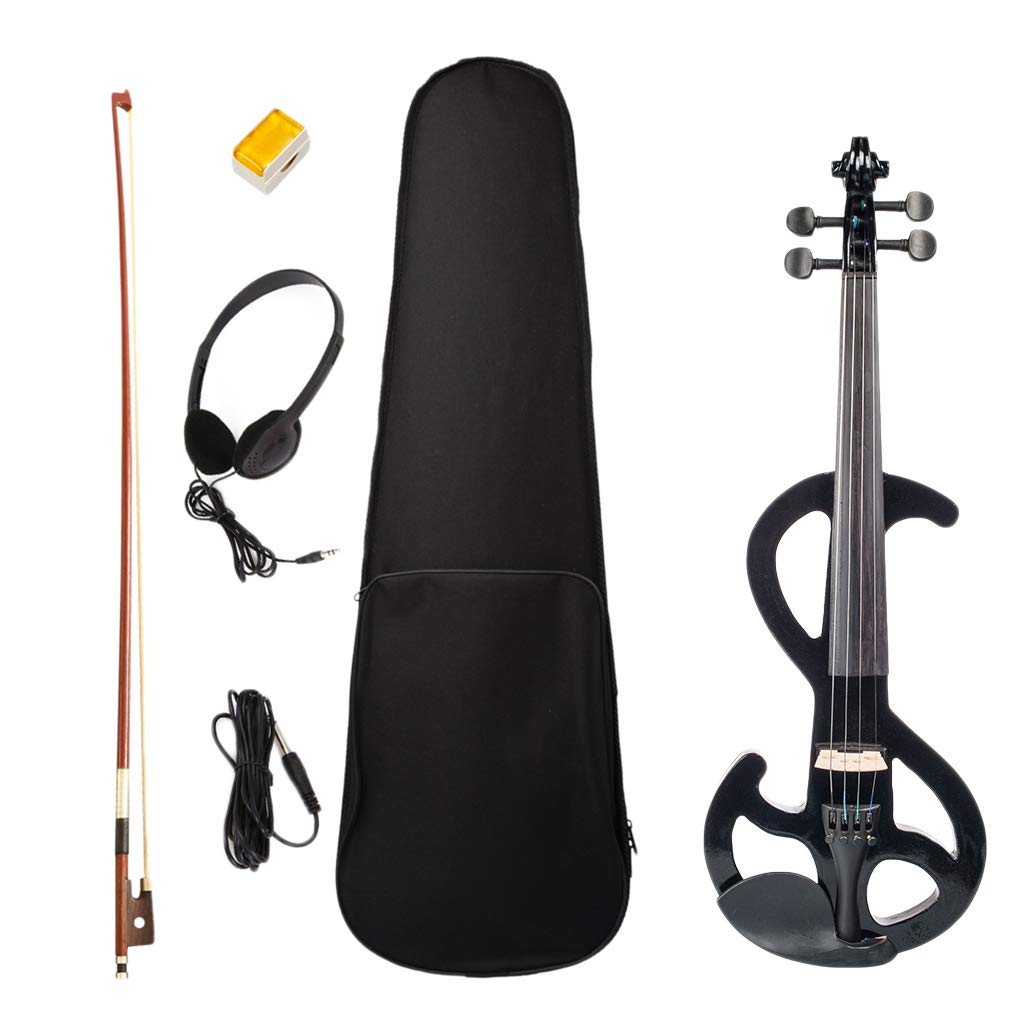 Solidwood Electric Silent Violin Black with Rosin Bow Hard Case Headphone Cable, 4/4