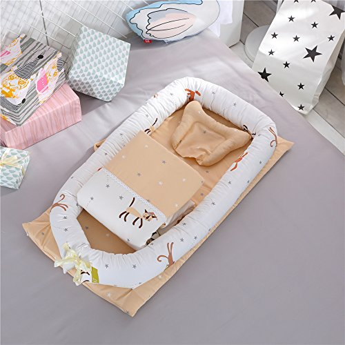 Cybil Home Baby Bassinet for Bed Baby Lounger Co-Sleeping Cribs- Breathable & Hypoallergenic -100% Cotton Portable Crib for Newborn 0-24 Months Travel Infant Bed Mattress Baby Shower (Cat Orange) by CYBIL HOME