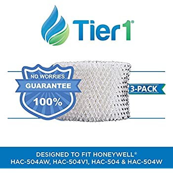 Tier1 HAC-504AW Comparable Honeywell HAC-504 Replacement Wick Filter for Honeywell Models HCM-530, HCM-535-20 3 Pack
