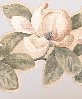 Creme White Flowers on Vine Wide Floral Wallpaper Border Retro Design, Roll 15' x 9.25''