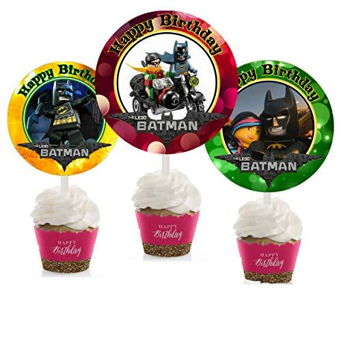 Crafting Mania LLC. 12 Batman Movie Birthday Inspired Party Picks, Cupcake Picks, Cupcake Toppers #1 ()