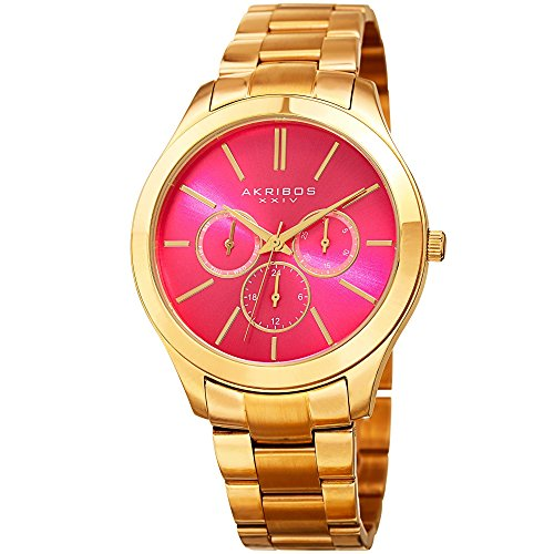 Akribos XXIV Women's Multi-Function With Hot Pink Sunray Dial and Gold-Tone Stainless Steel Bracelet Watch AK952YGPK (Stainless Pink Dial)