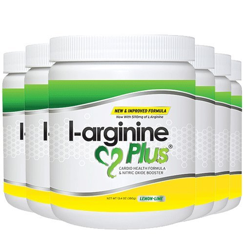 L-Arginine Plus Lemon Lime 6 Pack - Blood Pressure, Cholesterol Formula, Heart Health Supplement, 13.4 OZ (380g) by L-arginine Plus