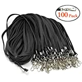 Bulk Lanyard with Swivel Clips Hooks Premium Black Cotton Flat Woven 17.5 inches 100 Pack Neck ID Badge Lanyard