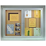 Ghent 36''x48'' 2-Door Aluminum Frame Enclosed Natural Cork Bulletin Board w/ Concealed Lighting, Made in the USA