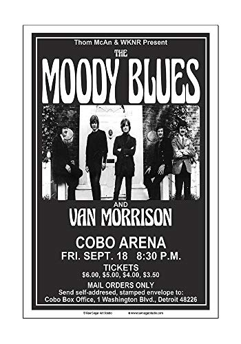 Raw Sugar Art Studio Moody Blues/Van Morrison 1970 Detroit Concert Poster