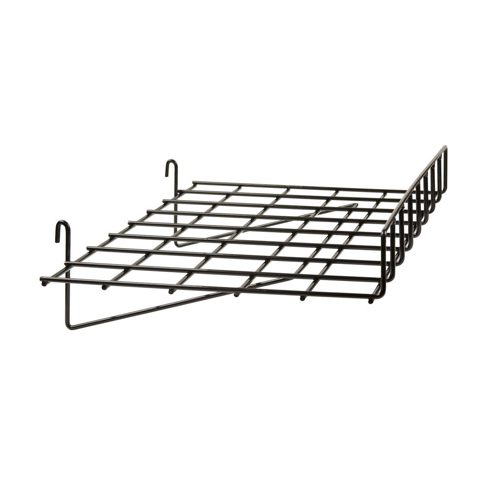 EZ-Mannequins 15'' x 24'' Gridwall Straight Shelf with Lip Black - Works with Grid Panels ...