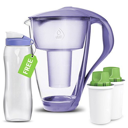 Dafi Alkaline UP Crystal Pitcher 8 cups Water Pitcher made from Borosilicate Glass - Set 2 Alkaline UP Water Filters FREE 24 fl oz Sport Bottle better hydration (Violet) (Glass Violet Crystal)