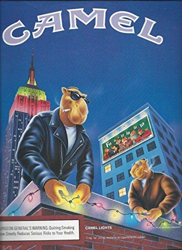 (MAGAZINE AD For 1996 Camel Joe Cool On Rooftop Hanging Christmas Lights)