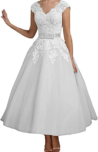 Amazon Com Jdress Women S Vintage Short Tea Length Lace Wedding