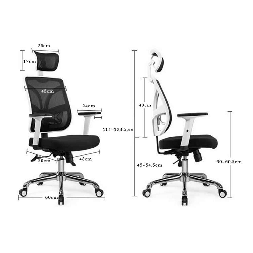 Kontorsstol datorstol ergonomiker med bekväm liggande arbetsrum sovrum svängbar stol Blåsvart Blåsvart