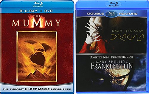 Frankenstein Dracula + The Mummy Blu Ray Amazing Fantasy Triple Monster Movie Feature Bram Stoker & Mary Shelly Classics