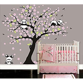 LUCKKYY Three Playful Pandas Bear On Cherry Blossom Tree Wall Decal Tree  Wall Sticker Nursery And Part 49