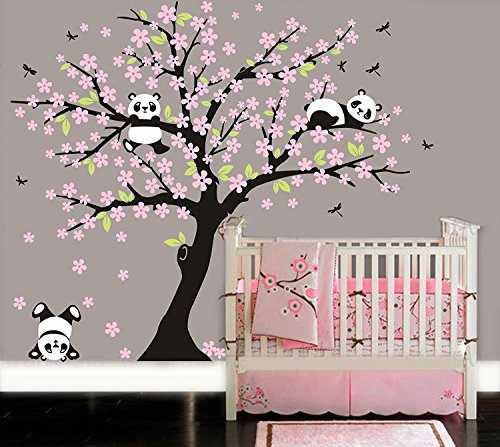 Panda Vinyl (LUCKKYY Three Playful Pandas Bear on Cherry Blossom Tree wall decal Tree wall sticker Nursery and Children's Room (pink))