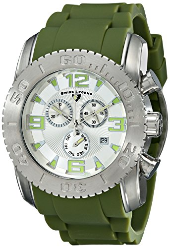 Swiss Legend Men's 10067-02S-MGRS Commander Stainless Steel Watch with Green Silicone Band
