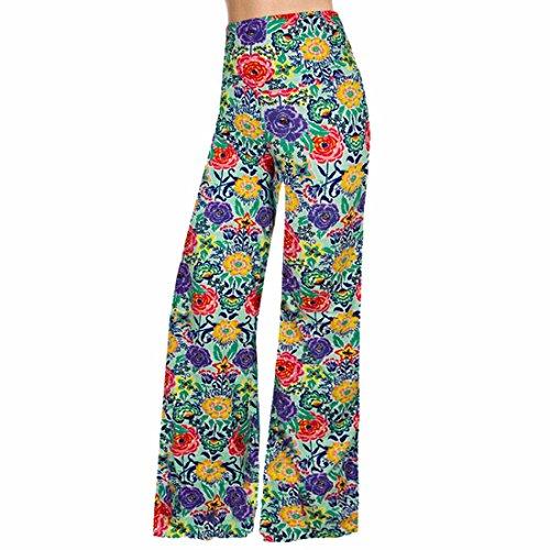 moichien pantalones pantalones Boheme Ai sueltos de Mujeres recto Retro impresi Beach Palazzo Floral largos FwXBx1