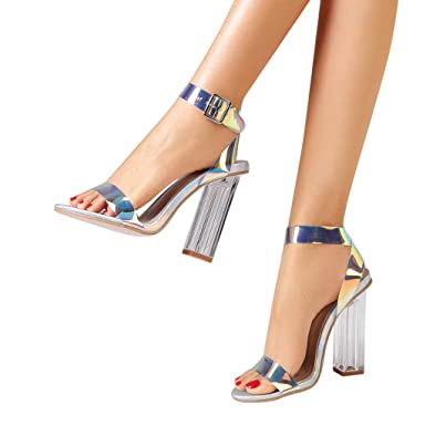 f8d95cd113e8 Ninasill Women Colorful Glossy Clear Crystal Heel Buckle Pointed Thick Heel  Personality Heels Party
