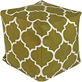 Surya PHPF012-181818 100-Percent Cotton Pouf, 18-Inch by 18-Inch by 18-Inch, Olive/Ivory