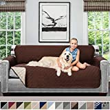Sofa Shield Original Patent Pending Reversible Sofa Slipcover, Dogs, 2' Strap/Hook, Seat Width Up to 70' Furniture Protector, Couch Slip Cover Throw for Pets, Kids, Cats (Sofa: Chocolate/Beige)