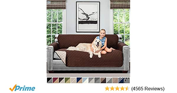 Sofa Shield Original Patent Pending Reversible Sofa Slipcover, 2 Inch Strap Hook, Seat Width Up to 70 Inch Furniture Protector, Couch Slip Cover Throw ...