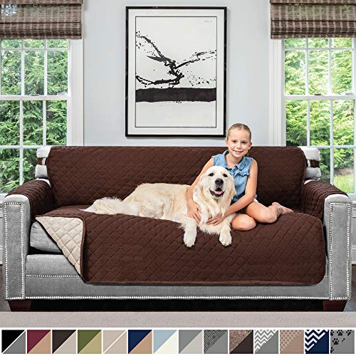 "Sofa Shield Original Patent Pending Reversible Sofa Slipcover, Dogs, 2"" Strap/Hook, Seat Width Up to 70"" Furniture Protector, Couch Slip Cover Throw for Pets, Kids, Cats (Sofa: Chocolate/Beige)"