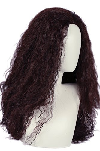Moana Cosplay Wig Brown Long Curly Permed Wig Hair Costume -