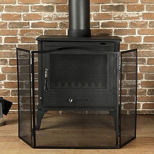 LJFPB 暖炉スクリーン 3パネル 装飾メッシュ 折り畳み可能 錬鉄スパークガードフェンス ウッドバーナー/ガス/ストーブ用 (Color : Black)