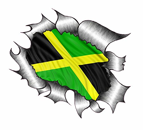 Ripped Torn Metal Jamaica Jamaican Flag Vinyl Sticker