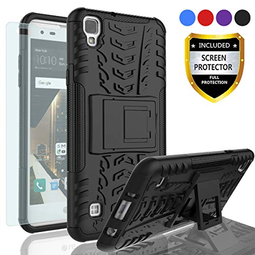 AYMECL LG Tribute HD Phone Case, LG X Style Case, LG Volt 3 Case,Tire Pattern Design Heavy Duty Dual Layer Shock Resistant Armor Cover with HD Screen Protector for LG LS676/LG X Style-HN Black
