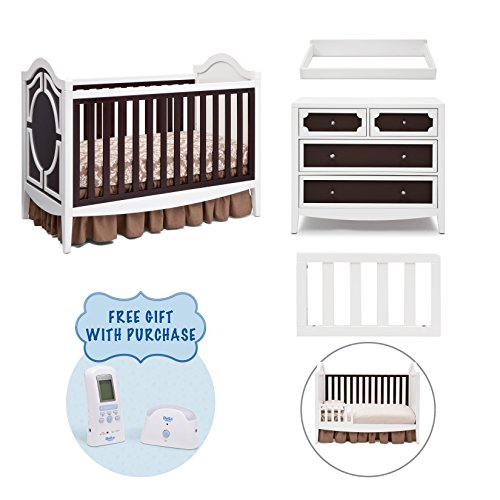 Simmons Kids Hollywood 4-Piece Nursery Furniture Set including FREE Baby Monitor, Crib, 4 Drawer Dresser, Changing Top and Guardrail, White/Espresso (Hollywood Glamour Furniture Bedroom Sets)