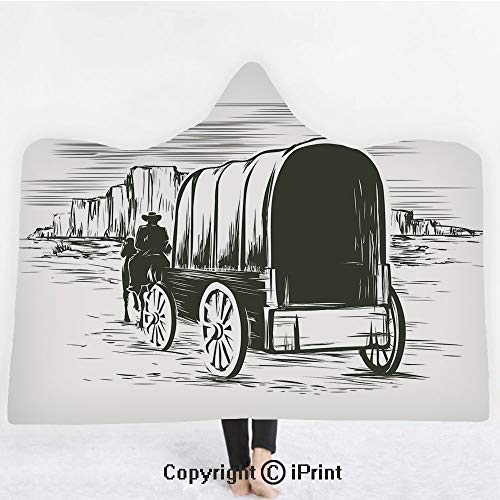 "Western 3D Print Soft Hooded Blanket Boys Girls Premium Throw Blanket,Old Traditional Wagon Wild West Prairies Pioneer on Horse Transportation Cart Decorative,Lightweight Microfiber(Kids 50""x60"")Black ()"