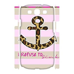 3D Nuktoe Pink Anchor Camo Print Case For Samsung Galaxy S3 With Unique Design With White