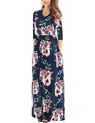 Print 3/4 Sleeve Dress - 9