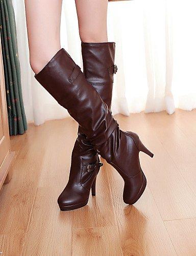 Mujer Eu35 Botas Cn34 Zapatos us5 De Marrón Cn39 Semicuero Negro Black us8 Brown Puntiagudos Equitación Eu39 Uk3 Tacón Xzz Uk6 Stiletto Vestido nEYFx1FH