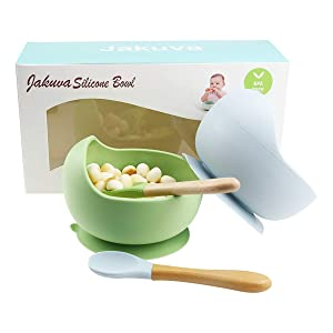 Jakuva 100% Silicone Baby Suction Bowls, 2 PC Food Grade Safe Suction Baby Feeding Set with Spoon for Babies Kids Toddlers - BPA Free - First Stage Self Feeding (Green & Blue)